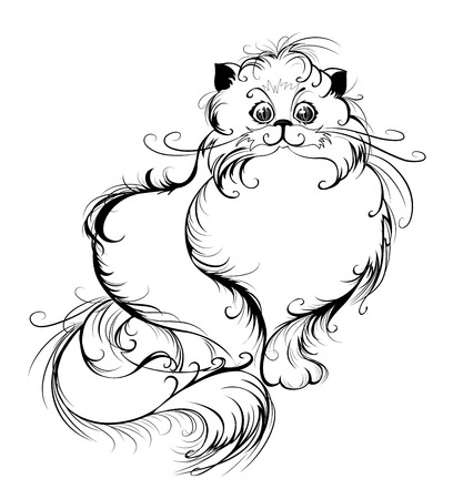 artistically drawn, thin black lines smooth, fluffy Persian cat with long tail, white background  Illustration