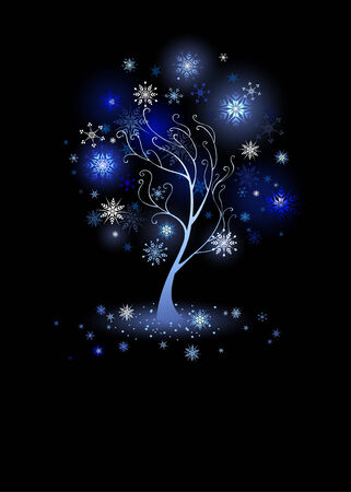 pastiche: artistically painted , winter tree with glowing snowflakes on a black background  Illustration