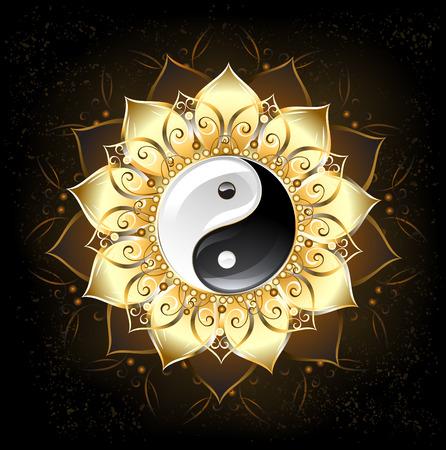 flower art: simbolo yin yang, disegnato nel mezzo di un loto con petali d'oro su sfondo nero Vettoriali