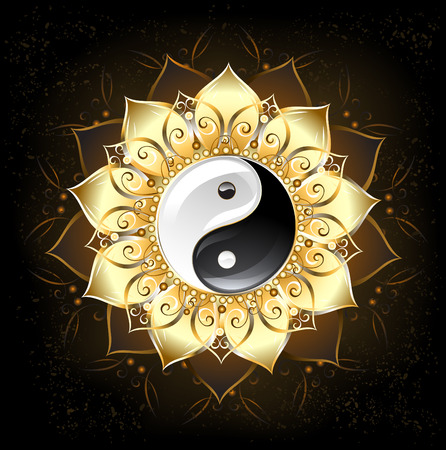 yin yang symbol , drawn in the middle of a lotus with golden petals on a black background Ilustração