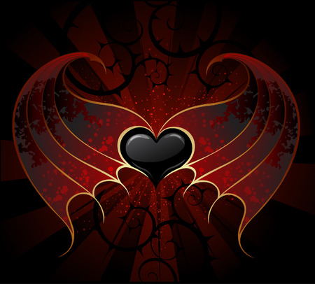 gothic black heart of a vampire with skin, membranous wings, the dark luminous background.
