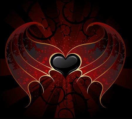 tatouage dragon: gothique coeur noir d'un vampire avec la peau, ailes membraneuses, le fond lumineux sombre.