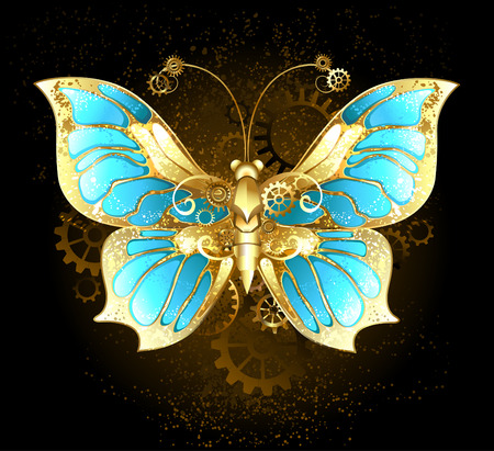 mechanical butterfly brass and gold with wings decorated with blue glass and gears Vector