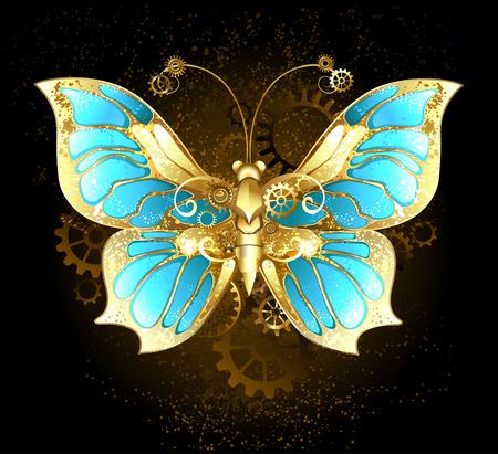 papillon mécanique laiton et d'or avec les ailes ornées de verre et engrenages bleu