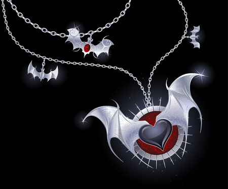 silver chain with a medallion with a black heart with silver wings vampire.