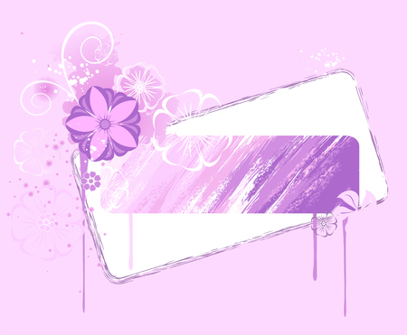 pastel shades: original banner, painted various shades of pink paint, decorated with stylized flowers and drips of paint.  Illustration