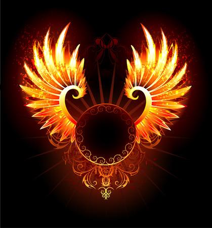 ave fenix: artísticamente pintados, bandera redonda con alas fénix de fuego sobre un fondo negro. Vectores