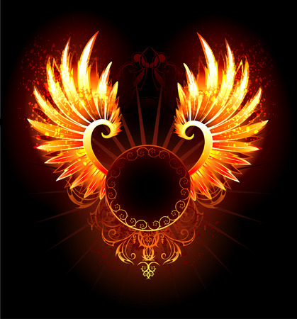 artistically: artistically painted,  round banner with fiery phoenix wings on a black background.