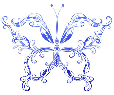 artistically: artistically painted blue with original patterned butterfly wings on a white background.  Illustration