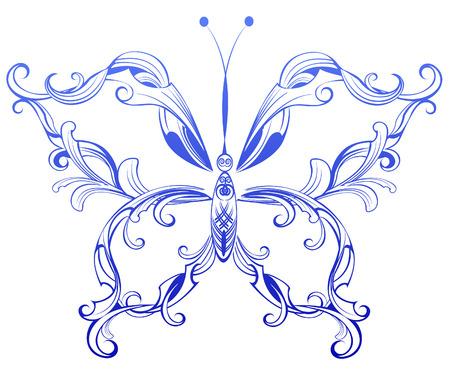 Artistiquement peinte en bleu avec des ailes de papillon originaux motifs sur un fond blanc. Banque d'images - 30728335