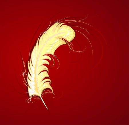 swelled: goldish thin feather on a red background