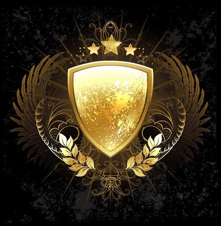 パターン、翼、受けて、暗い背景にゴールデン月桂樹枝で飾られた金色の盾  イラスト・ベクター素材