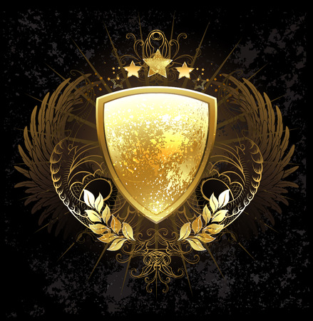 golden shield decorated with a pattern, wings, stars and golden laurel branches on a dark background Иллюстрация