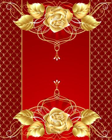 battu: fond rouge avec des bijoux en or rose motif dor� brillant et d�licat