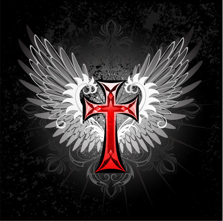 artistically painted red cross with gray wings on a black background.