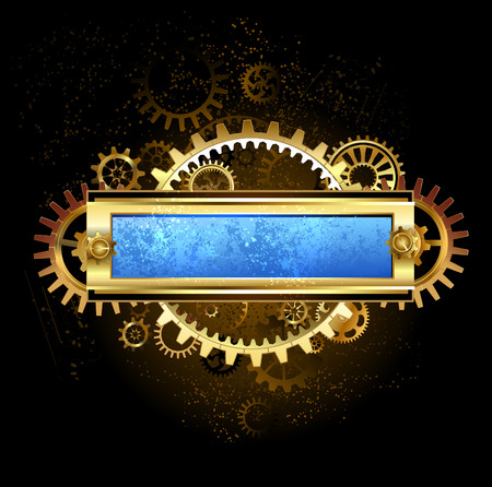Rectangular banner with gears and scratched blue glass on a dark brown background.