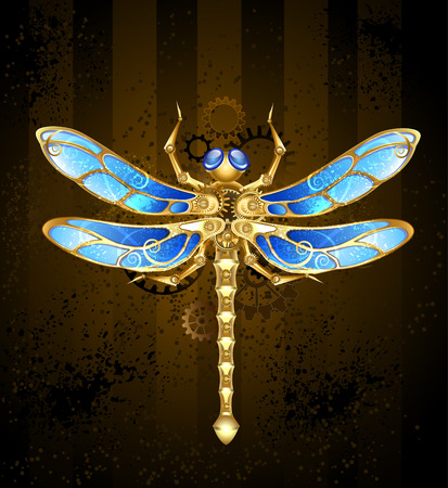 mechanical dragonfly brass and gold with wings decorated with blue glass and gears Vector