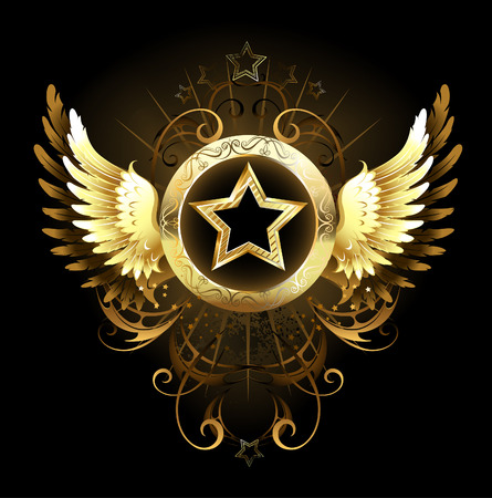 gold star with a circular banner, decorated with golden wings and a pattern on a black background Imagens - 30767899