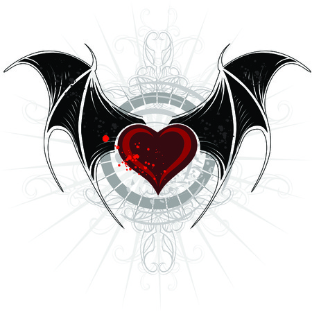 Vampire heart with wings Vector