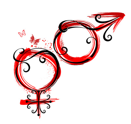 femininity: artistically painted symbols of Venus and Mars, with a drop of red paint on a white background.