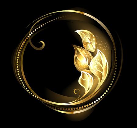 joyas de oro: Bandera redonda, de oro con lujo de hojas sobre un fondo negro