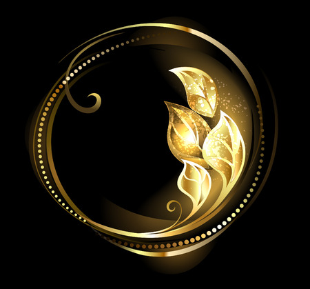 Round, golden banner with luxury leaves on a black background Illustration