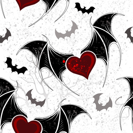 Seamless with winged hearts on the gray grunge background.  矢量图像