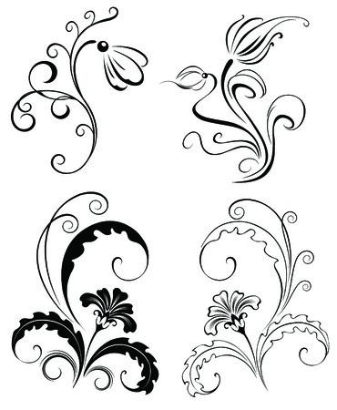 Set four black decorative flowers (for tattoos)