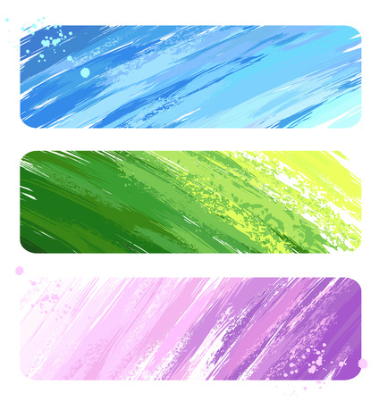 watercolor smear: three of the banner, painted blue, pink and green paint.