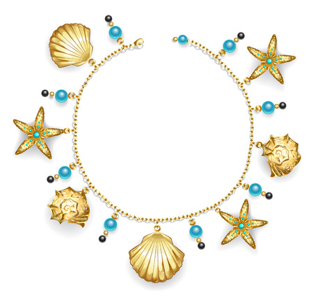 bracelet: create one bracelet of gold chain decorated with golden sea shells, starfish and turquoise beads.