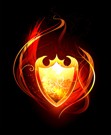 crown of light: Vector fiery shield on black background. Illustration