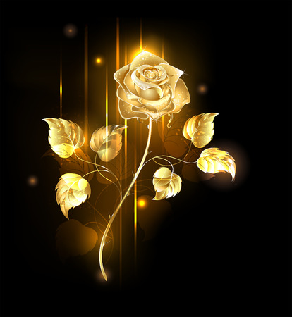 Glowing golden rose on a black background