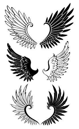 ali angelo: Artisticamente dipinte ali in bianco e nero per il tatuaggio. Vettoriali