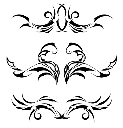 polynesian: Set of 3 different tribal tattoos in polynesian style