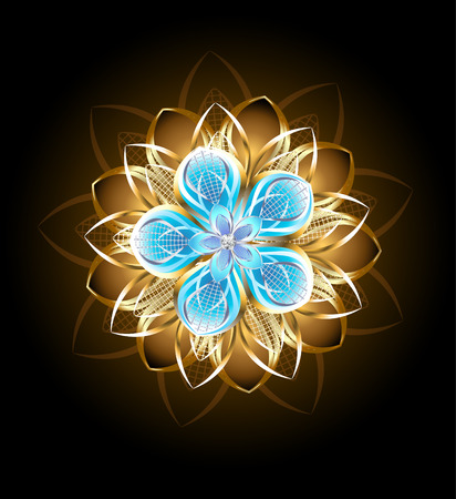 original sparkle: abstract turquoise flower decorated with golden petals on a black background