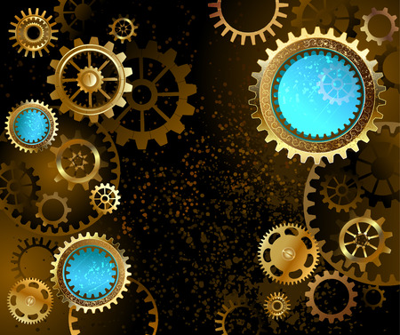 steampunk: black background with gold and brass gears and blue lenses.