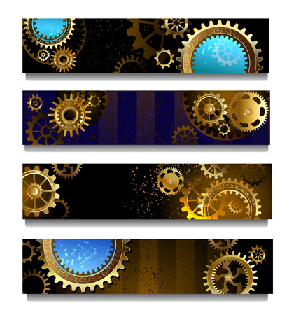 steampunk: four rectangular horizontal banner with brass and gold gears Illustration