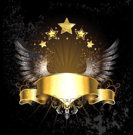 ゴールド リボン飾り天使の羽と黒の背景の金の星。