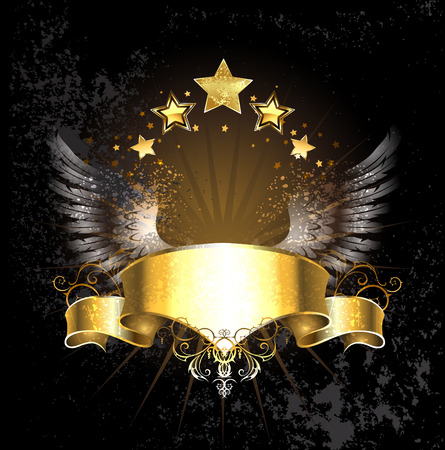 gold ribbon decoration angel wings and gold stars on a black background.