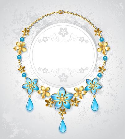 collar de flores de color azul y oro sobre un fondo claro.