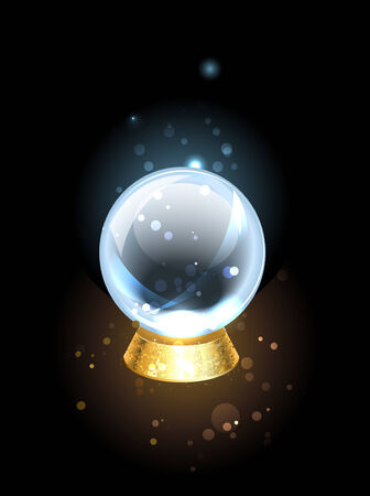 scrying crystal ball on a golden pedestal at a black background.  Illustration