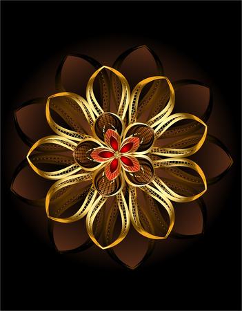 repujado: lujoso flor, abstracto sobre fondo brillante de color marr�n oscuro.
