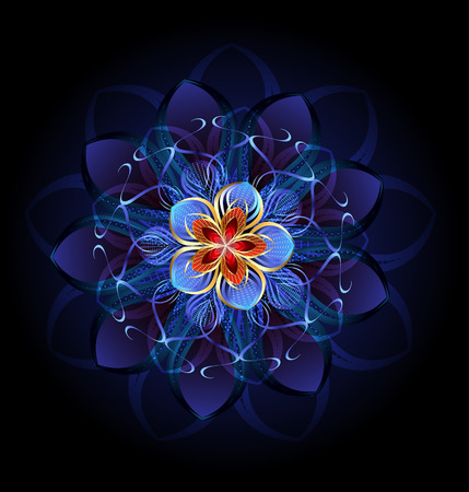luxurious, abstract blue flower on a dark glowing background.