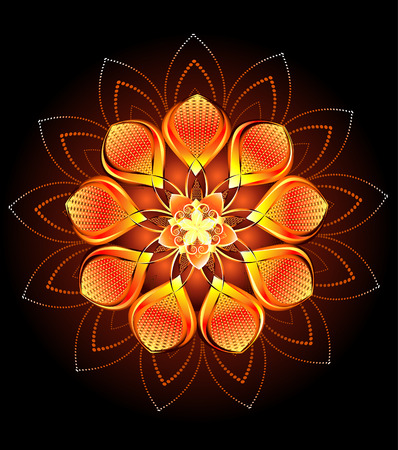 original sparkle: luxury abstract orange, hot, luminous flower on a dark background.