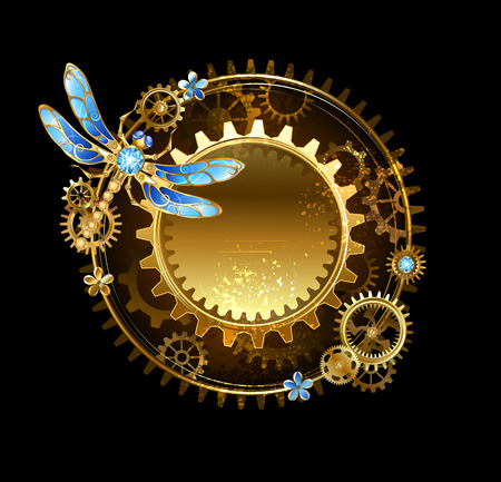 round banner with a mechanical dragonfly and gears on a black background.