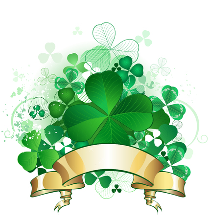 green clover with four leaves, with a gold banner on a white background.