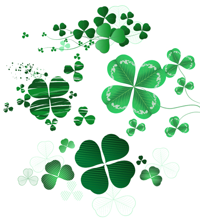 Four-leaf clover painted in different styles, oil paint, thin contour and realistic style Vector