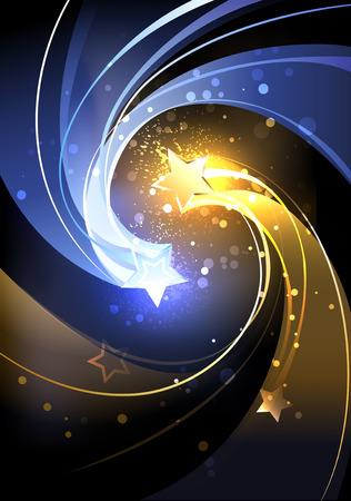 sprankelende blauwe en gele komeet op een zwarte achtergrond. Stock Illustratie