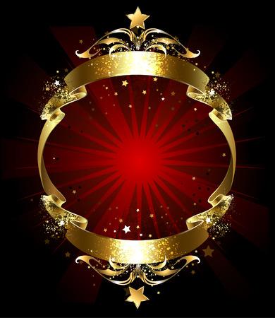 eeuwige goud brokaat lint, versierd met een patroon op een donkere achtergrond