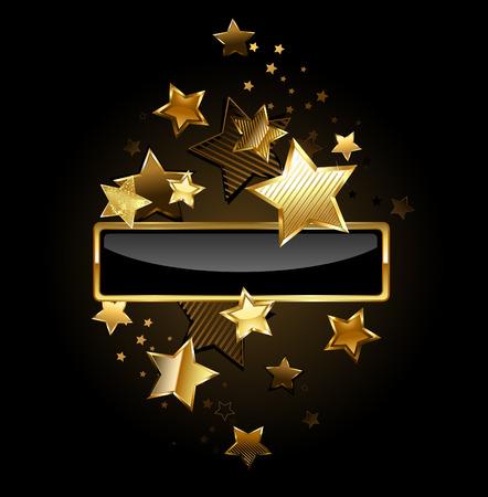 黒の背景の金の星で飾られてゴールド フレーム長方形の黒い旗